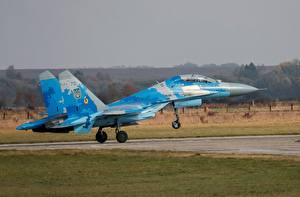 Fotos Flugzeuge Jagdflugzeug Start Luftfahrt Suchoi Su-27 Ukrainian Air Force Luftfahrt