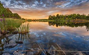 Hintergrundbilder Finnland Sonnenaufgänge und Sonnenuntergänge Landschaftsfotografie Flusse Stein Lappeenranta Natur