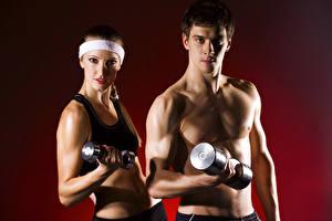 Bilder Fitness Mann Farbigen hintergrund 2 Blick Hantel Sport Mädchens