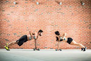 Wallpaper Fitness Men Walls 2 Dumbbells Made of bricks Workout Sport Girls