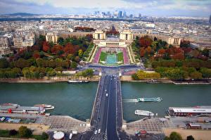 Hintergrundbilder Frankreich Haus Flusse Brücke Paris Von oben Städte