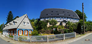Pictures Germany Building Village Street Fence Wehrsdorf Cities