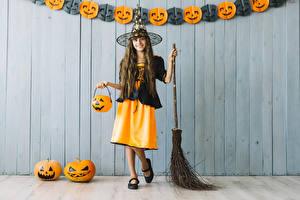Picture Halloween Pumpkin Witch Little girls Uniform Smile Cosplay Children