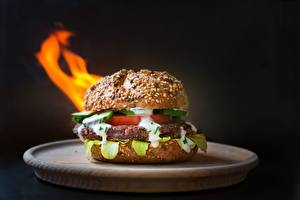 Photo Hamburger Meatballs Closeup Bokeh Plate Food