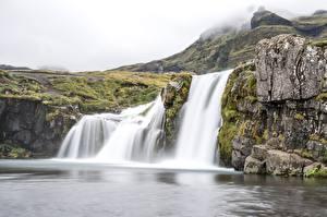Fotos Island Wasserfall Felsen Nebel Waterfall Kirkjufellsfoss Natur