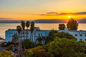 Bilder Israel Haus Sonnenaufgänge und Sonnenuntergänge Bäume Galilee