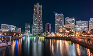 Picture Japan Houses Berth Bay Night Street lights Yokohama Cities