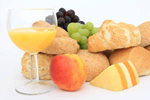 Wallpapers Juice Peaches Cheese Buns Grapes Stemware