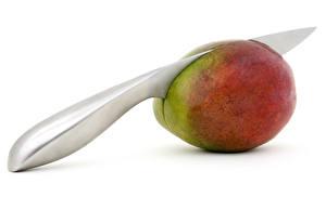 Fotos Messer Mango Weißer hintergrund Lebensmittel
