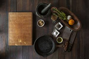 Wallpaper Knife Spices Cutting board From above Frypan Mortar and pestle