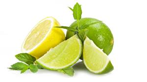 Picture Lime Closeup Lemons White background Food