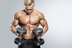 Fotos Mann Bodybuilding Schön Hantel Bauch Grauer Hintergrund Sport