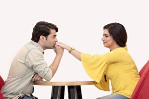 Wallpaper Men Lovers 2 Sitting Brunette girl Hands Kissing Girls
