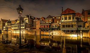 Fotos Niederlande Gebäude Abend Kanal Straßenlaterne Gorinchem Städte