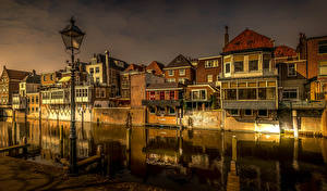Pictures Netherlands Building Evening Canal Street lights Gorinchem Cities