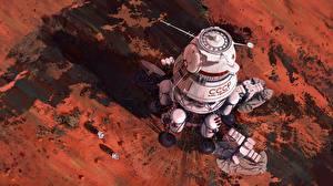 Papel de Parede Desktop Desenhado Marte Navio URSS