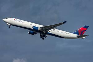 Fotos Verkehrsflugzeug Airbus Seitlich Starten Delta Air Lines