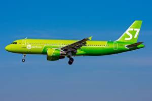 Hintergrundbilder Verkehrsflugzeug Airbus Seitlich Gelb grüne Siberia Airlines, A320-200 Luftfahrt