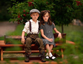 Desktop wallpapers Antique Bench Blurred background 2 Boys Little girls Sit child