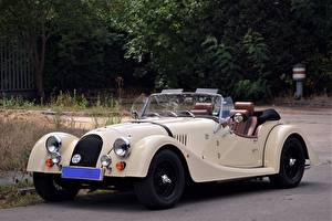 Picture Retro Cabriolet White Morgan Roadster auto