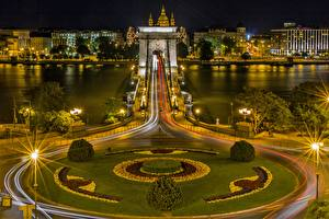 Images Rivers Bridges Budapest Hungary Night Street lights Danube, Chain bridge