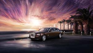 Hintergrundbilder Rolls-Royce Braun 2014-19 Ghost auto