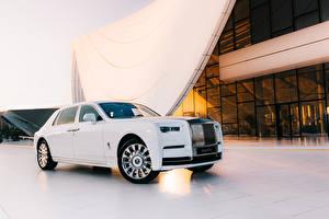 Fotos Rolls-Royce Weiß Metallisch Luxus 2019 Phantom Tranquillity automobil