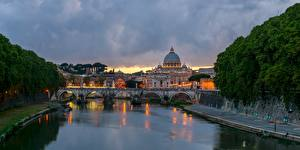 Wallpapers Rome Italy Bridges Rivers Evening Ponte Sant'Angelo, Tiber Cities