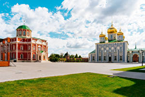 Pictures Russia Temples Church Town square Lawn Tula Cities