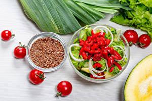 Fotos Salat Gemüse Tomate flax seeds