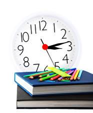 Fotos Schule Uhr Weißer hintergrund Bücher Bleistift