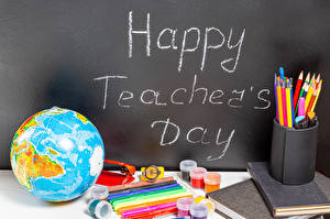 Picture School Holidays Stationery English Globe Pencils Happy Teacher's Day