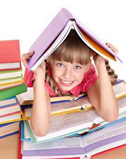 Bilder Schule Kleine Mädchen Lächeln Blick Hand Buch Kinder