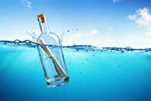 Hintergrundbilder Meer Wasser Flaschen Brief 3D-Grafik