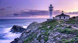 Hintergrundbilder Spanien Leuchtturm Felsen  Natur