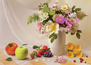 Pictures Still-life Bouquets Apples Jug container Vase Flowers