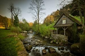 Hintergrundbilder Stein Fluss Bäume Wassermühle Natur