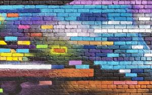 Photo Texture Graffiti Made of bricks Walls