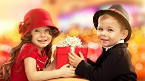 Wallpaper Two Hat Gifts Staring Bow knot Boys Little girls Children