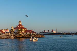 Images USA Coast Pier Ships California Bay Rainbow Harbor Marina, Long Beach Nature