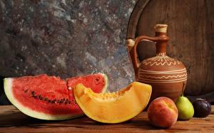 Hintergrundbilder Wassermelonen Melone Stillleben Stück Kannen Lebensmittel