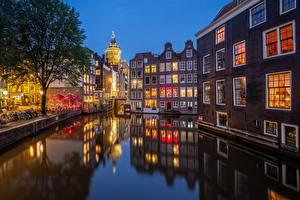 Hintergrundbilder Amsterdam Niederlande Abend Haus Kanal