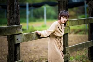 Fotos Asiaten Zaun Posiert Mantel junge frau