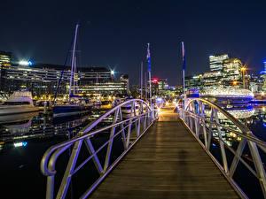 Wallpapers Australia Houses Marinas Bridge Evening Rays of light Melbourne