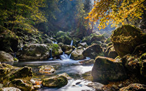 Wallpapers Autumn Stone Moss Streams Nature