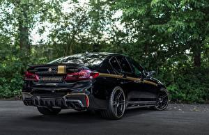 Sfondi desktop BMW Nero Vista posteriore 2018 Biturbo Manhart M5 V8 F90 723 MH5 Auto
