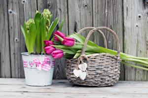 Hintergrundbilder Sträuße Tulpen Weidenkorb Herz Bretter Eimer Blumen