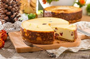 Fondos de escritorio Tarta de queso Pedazo Tenedor Alimentos