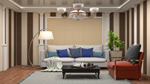 Pictures Chess Interior Table Armchair Couch Pillows Lamp Chandelier Living room Design 3D Graphics