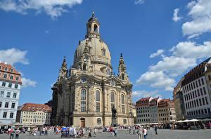 Fonds d'écran Église Dresde Allemagne Rue Frauenkirche
